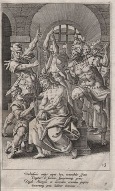 Maarten de Vos (1532 - 1603)  - The crowning with thorns - published Gerard de Jode - Ca. 1580