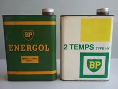 2 old BP cans of oil for 2 stroke engines - France - 1950s/70s