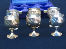 Liquor set silver plated in case, France, mid 20th century