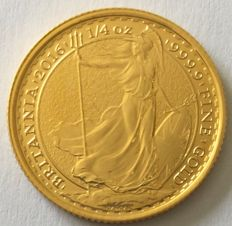 Great Britain: 25 pounds - Britania - 2016, 1/4 oz gold