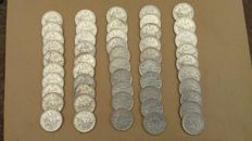 France - 5 Francs 1960 'Semeuse' (lot of 50 coins) - Silver