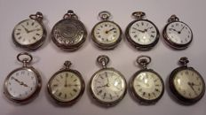 10 x 0800 silver pocket watch for Bastler