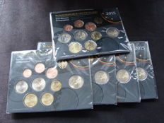 Germany - year pack/ year collection 2015A, D, F, G, J, including 5 x 2 Euro coin Hessen.