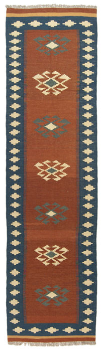 Authentic, original KILIM rug – Handmade – 100% wool – Dimensions: 303 x 80 cm – With certificate of authenticity from an official appraiser (Galleria Farah 1970)