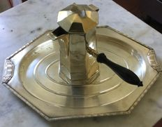 Coffee pot and silver plated metal tray