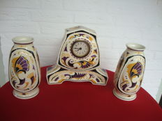 Beautiful set of clocks in Art Nouveau style Societe Ceramique Maestricht