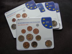 Germany - year pack 2011 A, D, F, G, J, including 5x 2 Euro Cologne Cathedral
