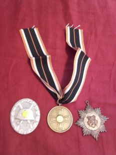 3 Badges, 3rd Reich, WW2, with engraving