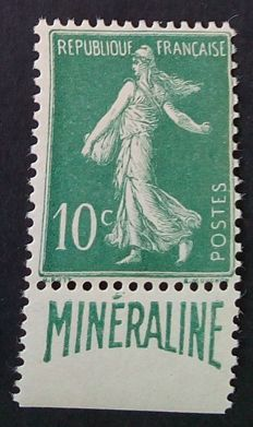 "France 1924-26 - ""Minéraline"" 10 c green, signed Calves with digital certificate - Yvert no. 188A."