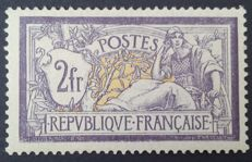 France 1920 – Merson 2f. purple and yellow, signed Calves – Yvert no. 122
