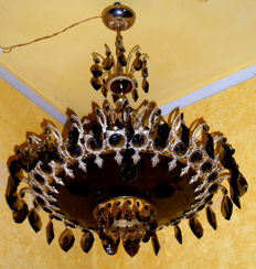 Gilded bronze metal chandelier with Swarovski style crystals and crystal glass, smoky-coloured, Italy or France, 1960s