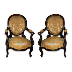 A pair of Louis Philippe rosewood armchairs - France - 19th century