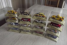Norev - Scale 1/43 - Lot with 18 models: 4 x Peugeot, 7 x Mitsubishi, 2 x Renault, 2 x Citroen, 1 x VW, 1 x Range Rover & 1 x Mercedes-Benz