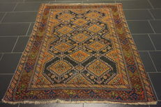 Antique Persian carpet Afshari 140 x 170 cm made in Iran, natural colours