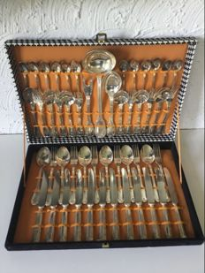 Silver-plated cutlery 12 place settings in box - 51-pieces
