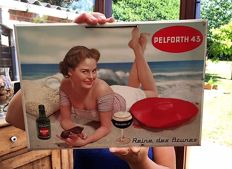 "Vintage sheet metal plate, pin up, ""PELFORTH 43"" beer 1950s"