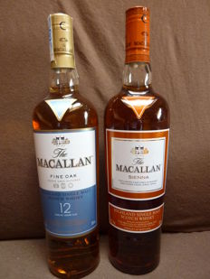 2 bottles - Macallan Fine Oak 12 years old  0,7l  40%  + Macallan Sienna   0,7l  43%
