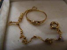Bracelet and ring baptism set in superior quality gold - 19.2k - 800 - No reserve
