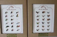 Two sets of a total of 35 trout fly fish-bait - handmade - to frame or to use.