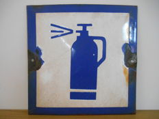 Enamel sign with fire extinguisher from 1960