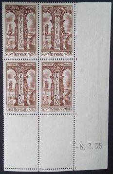 France 1935 – 3 F 50 brown, Saint Trophime, Block of 4 corner-dated – Yvert no. 302.