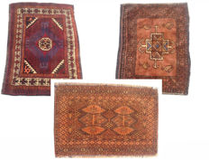 Three Semi Antique Persian Hand Knotted Area Rugs 85 cm x 58 cm, 62 cm x 45 cm, 62 cm x 41 cm