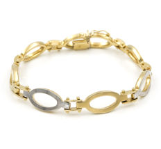 18 kt yellow gold - 18 kt white gold - two-tone link bracelet with dual safety clasp – Length 20.50cm.