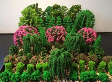 Scenery -H0- Deciduous trees, blossom trees, fruit trees, conifers and other trees, 85 pieces in total
