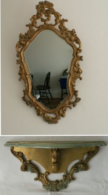 Beautiful Baroque mirror in nice frame, including wall bracket (console) in similar style.