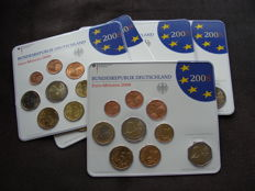 Germany - year pack 2008 A, D, F, G, J, including 5x 2 Euro Hamburg