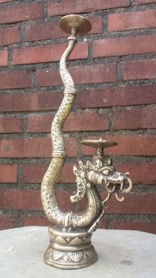 Handmade Bronze Candlestick – Naga on Lotus Throne – Indonesia