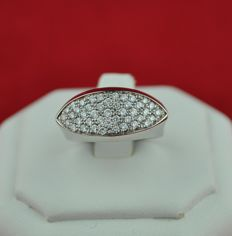 Pavé Diamonds (total 1.25ct) in Marquise-shaped setting on White 18k Gold  - E.U Size 51/52 resizable