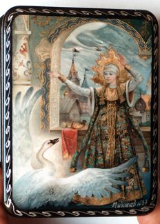 """Russian lacquer box  - """"Fedoskino"""" – """"Based on the fairy tale """"The Princess Swan"""""""