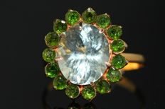 Gold ring of 18 kt, set with natural aquamarine and chrome diopside 59 - no reserve