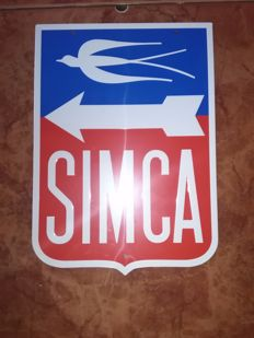 Simca enamelled plate