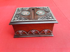 Tobacco wooden box with silver and enamel