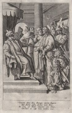 Maarten de Vos (1532 - 1603)  - Christ before Pilate - published Gerard de Jode - Ca. 1580