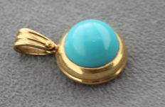 14 kt gold pendant inlaid with turquoise - length: 2.5 x 1.5 cm