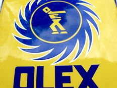 OLEX TANKSTELLE - ancient enamel advertising sign from BP, tank station, dimensions:  59 cm x 59 cm, original around 1930