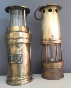 Two old miner's lamps, first half of the 20th century, Netherlands