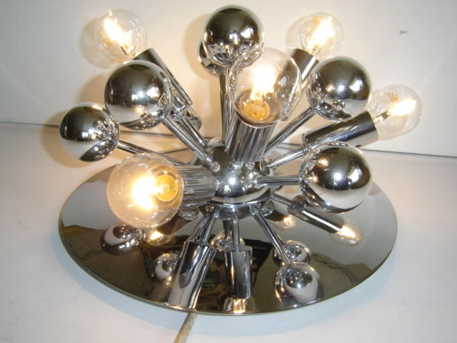 Large chrome plated atomic design wall/ceiling Sputnik lamp 1950s style