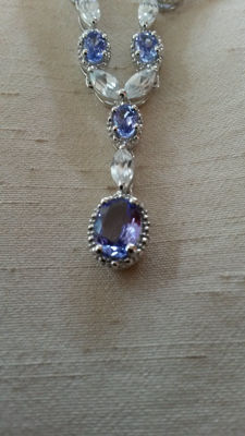 Stunning 3.96ct graded Authentic Tanzanite with genuine 4.56ct white Zircon. Timeless Necklace