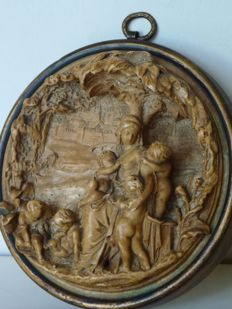 Catholic devotion - plaque depicting Mary with 5 cherubs, one of which is suckled at her breast under the shade of a palm tree with the city of Jerusalem on the background - Italy - late 20th century
