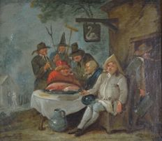 Flemish school (18th century) - Peasant workers enjoying a drink and smoke outside the Swan Tavern