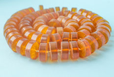 Baltic Amber necklace with old honey butterscotch egg yolk colour, 115 gram