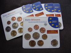 Germany - Year pack 2007 A, D, F, G, J, including 5x 2 Euro Schwerin and Rome Convention