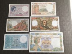 France - 5, 10, 20, 50, 100 and 1.000 Francs 1933, 1940, 1942, 1948 and 1972 - Pick 72, 84, 85, 95, 100 and 149