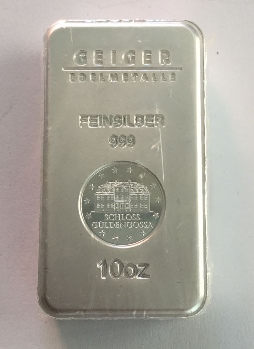 "Germany: 10 oz silver bullion ""security line"" Güldengossa castle"