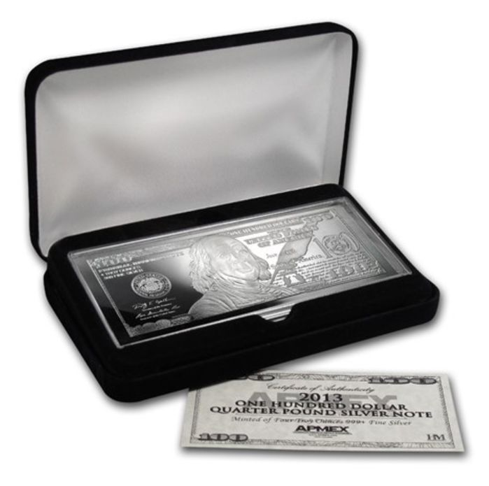 USA: $100 silver bar - banknote - 2013 - 4 oz of fine silver - in exquisite box with certificate