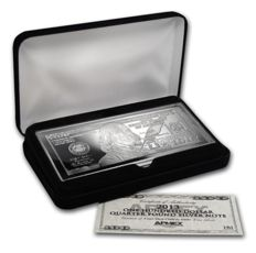 $100 silver bullion-bill- 2013, 4 oz fine silver, in noble box with certificate